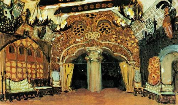 Эскиз декорации к балету Лебединое озеро
