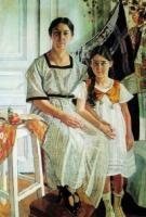 Портрет Л.Я. Рыбаковой с дочерью Олей. 1923