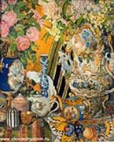Натюрморт. Фарфор и цветы. 1915