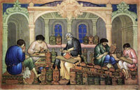 Хохломские художники за работой (И.М. Баканов. Палех, 1929 г.)